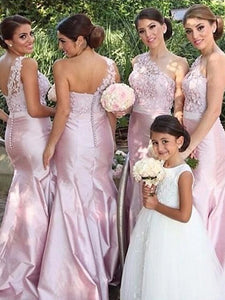 Pink Mermaid Sleeveless Satin One Shoulder Floor Length Bridesmaid Dresses