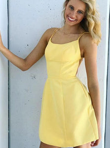 Yellow A Line Spaghetti Straps Satin Knee Length Homecoming Dress with Pockets