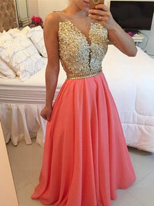 Sexy A Line Beaded Appliques Open Back Chiffon Long Prom dress