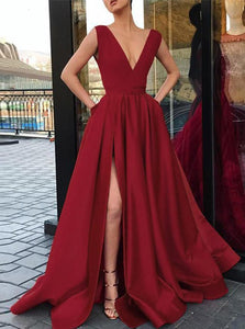 Red A-line Deep V Neck Satin Prom Dress with Slit