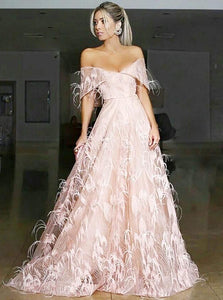 A Line Off the Shoulder Pink Lace Prom Dresses with Feather