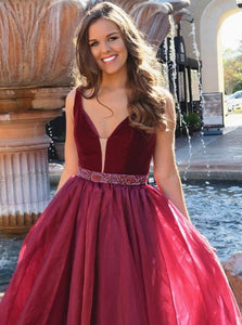 A Line V Neck Floor Length Burgundy Chiffon Prom Dress with Beadings