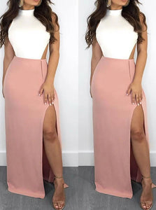 Mermaid White and Pink Halter Backless Satin with Slit Sleeveless Floor Length Prom Dresses