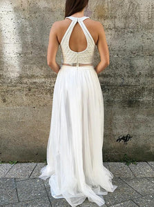A Line Round Neck Open Back White Prom Dresses with Beading Pearls