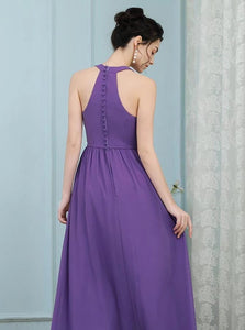 Lavender A Line Scoop Pleated Chiffon Zipper Up Bridesmaid Dress