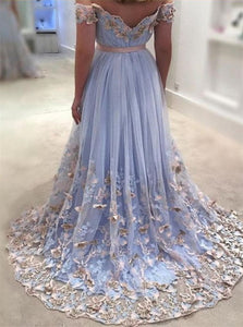 A Line Off the Shoulder Sweetheart Floor Length Appliques Prom Dresses