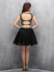 Two Piece Open Back Black Short Sleeveless Homecoming Dress with Gold Sequins