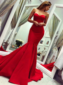 Sexy Mermaid Sweetheart Red Satin Sweep Train Prom Dresses