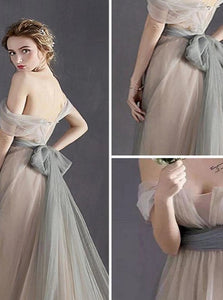 Fairy A Line Bowknot Cap Sleeves Zipper Prom Dresses
