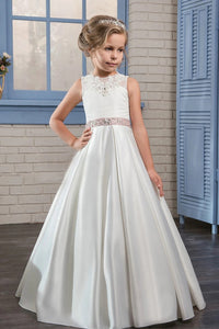 Scoop Appliques Satin Lace Up Flower Girl Dresses