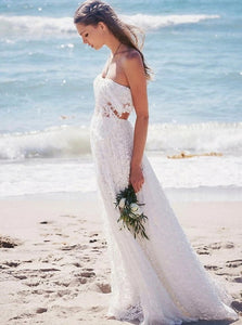 Graceful Two Piece Strapless Lace Beach Wedding Dresses