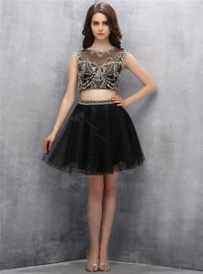 Two Piece Open Back Black Short Tulle Homecoming Dress with Gold Sequins