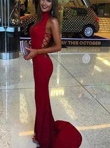 Chic Mermaid High Neck Sleeveless Sweep Train Red Spandex Prom Dress