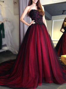 Sexy Red and Black Strapless Prom Dress