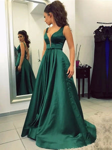 A Line V Neck Sweep Train Emerald Satin Sleeveless Prom Dresses with Pockets LBQ0260