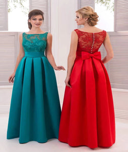 Scoop Satin  Prom Dresses With Appliques And Ruffles Floor Length