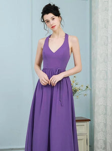 Lavender A Line Scoop Pleated Chiffon Floor Length Bridesmaid Dress