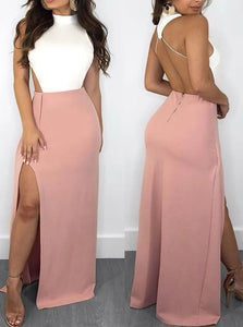 Mermaid White and Pink Halter Backless Satin with Slit Sleeveless Prom Dresses