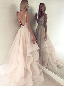 Champange V Neck Open Back Tulle Sequins Prom Dresses