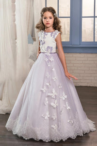 Purple A Line Scoop Tulle Applique And Bow Knot Flower Girl Dresses