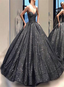 Ball Gown Spaghetti Straps V Neck Sequin Prom Dresses