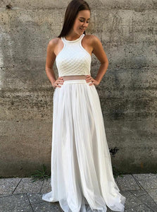 Round Neck Open Back White Floor Length Prom Dresses with Beading Pearls
