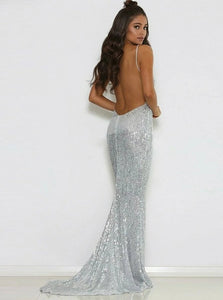 Elegant Sliver Mermaid Spaghetti Straps Backless Sequins Prom Dress with Sweep Train
