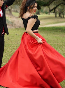 Two Piece Red Satin Off the Shoulder Sweep Train Evening Dress with Beading Flowers