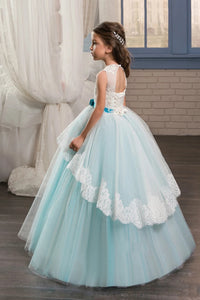 Lovely Blue Ball Gown Scoop Applique Tulle Floor Length Flower Girl Dresses