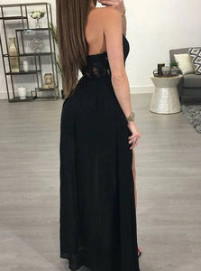 Black A Line Halter Chiffon Side Slit Sweep Train Prom Dress with Appliques