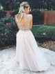 Champagne Two Piece Tulle Sleeveless Open Back Prom Dress Gail