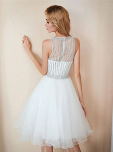 A Line Round Neck Sleeveless Above Knee White Tulle Sequins Prom Dress
