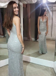 Classic Silver Sheath Spaghetti Straps Sweep Train Sequined Prom Dress