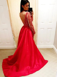 A Line V Neck Sweep Train Red Satin Open Back Prom Dresses with Beadings