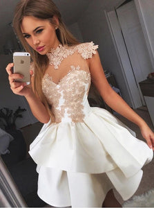 High Neck White Satin Prom Dresses with Appliques
