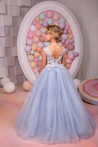 Blue Scoop Tulle Flower Girl Dresses With Applique Floor Length