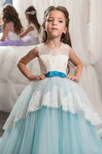 Ball Gown Scoop Applique Tulle Floor Length Flower Girl Dresses with Ribbon