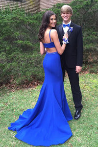Royal Blue Spaghetti Straps Open Back Satin Prom Dresses