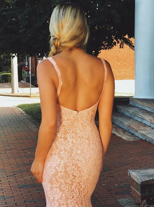 Pink V Neck Mermaid Sleeveless Lace Backless Beadings Prom Dress