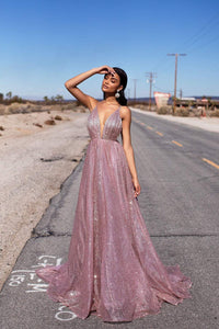 Sparkly A Line Pink Sequins Rose Gold Backless Prom Dresses