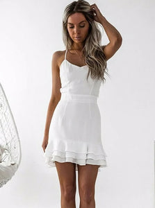 Chic White Sheath Spaghetti Straps Satin Homecoming Dress with Pleats