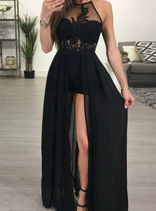 Black A Line Halter Chiffon Side Slit Prom Dresses with Appliques
