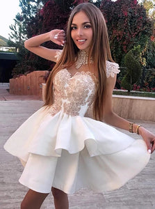 A Line High Neck White Satin Prom Dresses with Appliques