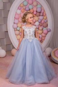 Scoop Tulle Lace Up Flower Girl Dresses With Applique Floor Length