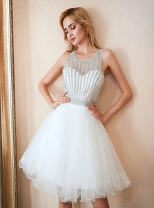 A Line Sleeveless Above Knee White Tulle Prom Dress
