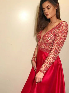 A Line V Neck Sweep Train Red Satin Prom Dress with Beadings