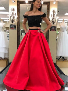Sexy Two Piece Red Satin Off the Shoulder Prom Dress with Beading Flowers
