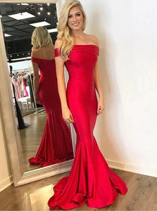 Moderm Mermaid Red Satin Off the Shoulder Prom Dress
