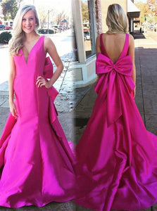 Mermaid V Neck Backless Fuchsia Prom Dresses with Bowknot and Chapel Train