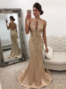 Chic Mermaid Halter Sweep Train Criss Cross Straps Keyhole Champagne Satin Prom Dress with Beadings